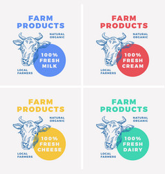 farm dairy products abstract sign symbol vector image vector image