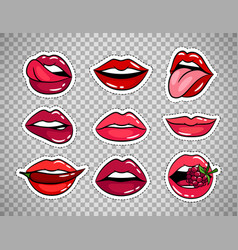Female lips patches on transparent background vector