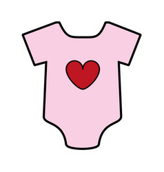 Feminine onesie with heart baby or shower related vector