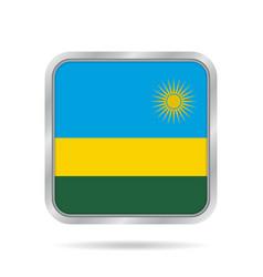 Flag of rwanda shiny metallic gray square button vector