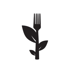 Flat icon in black and white leaves fork vector