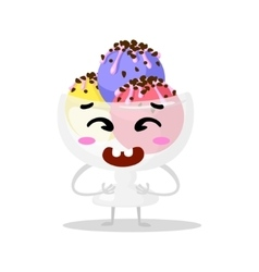 Funny cartoon cute ice cream Kawaii muzzle vector