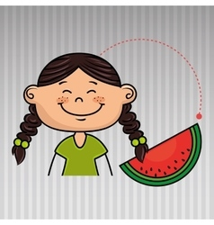girl vegetable food health vector image