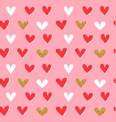 gold glitter heart shape retro seamless pattern vector image