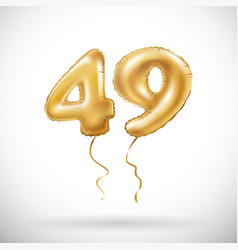 Golden number 49 forty nine metallic balloon vector