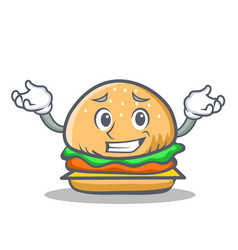Grinning burger character fast food vector