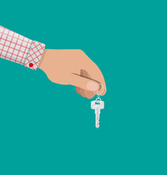 hand and metal key with ring in flat style vector image