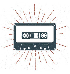 hand drawn 90s themed badge with audio cassette vector image