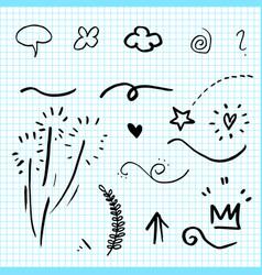Hand drawn set elementsarrow heart love star vector