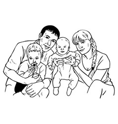 happy family drawing vector image