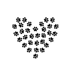 heart symbol made of pet pawprints isolated on vector image