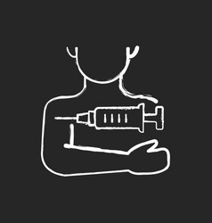 Injection in arm chalk white icon on black vector