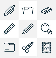 instrument icons line style set with folder open vector image
