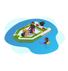 isometric inflatable boat a modern inflatable vector image