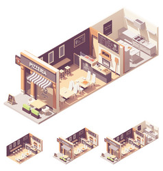 isometric pizzeria interior cross-section vector image
