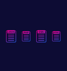 Java php css html code icons vector