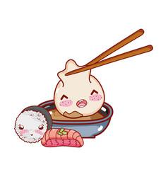 Kawaii with dumpling in sauce rice and fish food vector