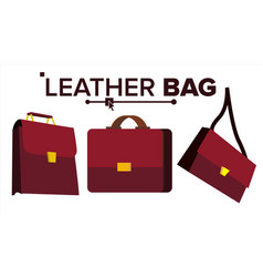 leather bag office brown elegance vector image
