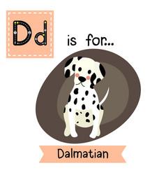Letter d tracing sitting dalmatian vector