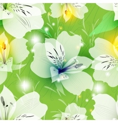 Lilies on a light green background vector