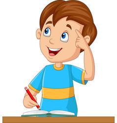 little boy having a good idea vector image