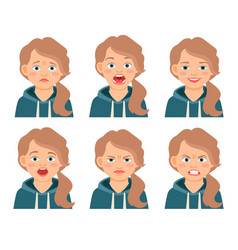 Little kid girl face expressions vector