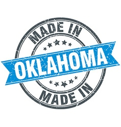 made in Oklahoma blue round vintage stamp vector image
