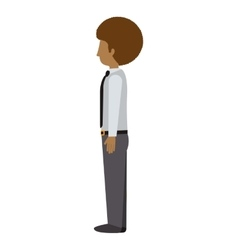 Man standing with left profile afro vector