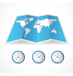Map icon and world time clocks vector