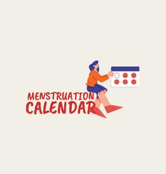 menstruation calendar poster womens health care vector image