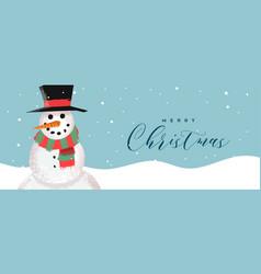 merry christmas card funny snowman cartoon vector image
