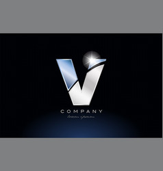 Metal blue alphabet letter v logo company icon vector
