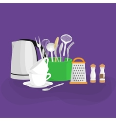 Metal electric kettle and a white ceramic cup for vector