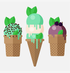 Mint ice cream cone mint ice cream scoop in cone vector