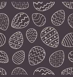 monochrome easter pattern with outline eggs vector image
