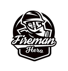 Monochrome logo emblem fireman in a gas mask vector
