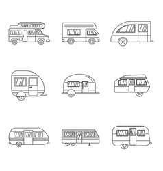 motorhome car trailer icons set outline style vector image