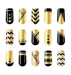 Nail art gold and black nail stickers design vector