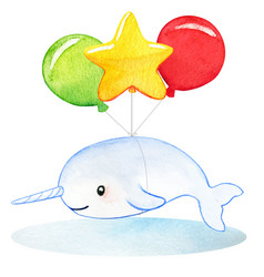 narwhale watercolor baby drawing flyung vector image