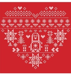 Nordic pattern in hearts shape with penguin on red vector image