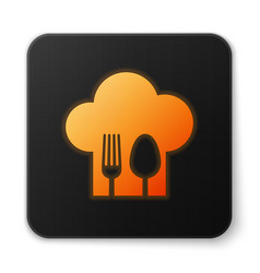 Orange glowing chef hat with fork and spoon icon vector