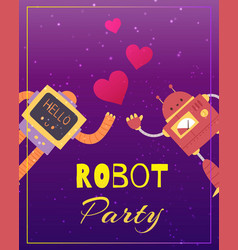 party robots with audio equipment in retro vector image