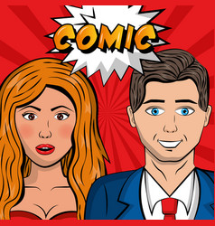 people pop art comic vector image