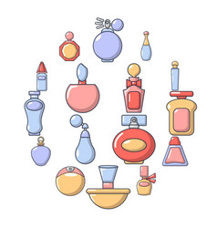 Perfume bottle icons set cartoon style vector