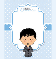 Praying boy with space for text vector