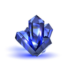 Realistic blue crystal on white background nature vector