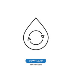 Recycle in water drop icon vector