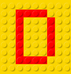 red letter d in yellow plastic construction kit vector image