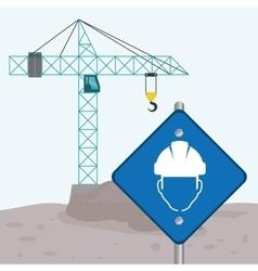 Road sign faceless man crane cement under vector