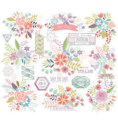Romantic Floral hand drawn set vector image